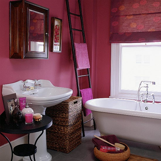 bathroom with pink walls blind and white suite With raspberry bathroom paint