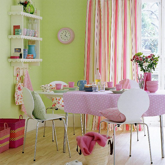 Modern Dining Area In Pastel Shades