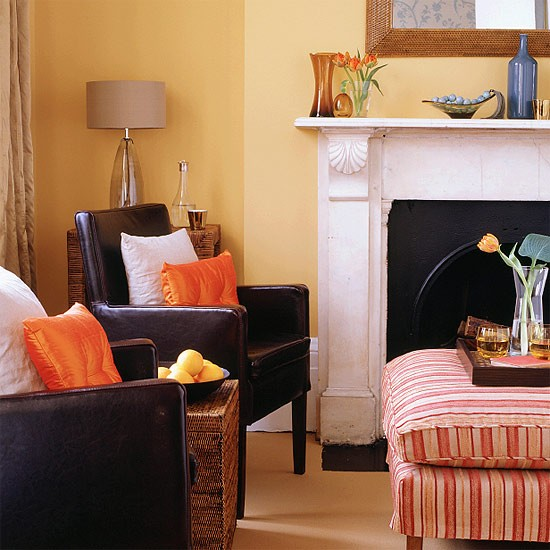 Orange Living Room Brown Leather Chairs
