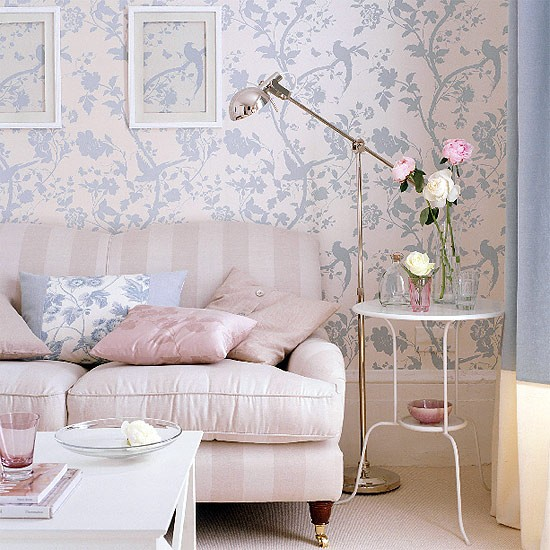 Pastel living room | Floral wallpaper | Image | Housetohome.co.uk