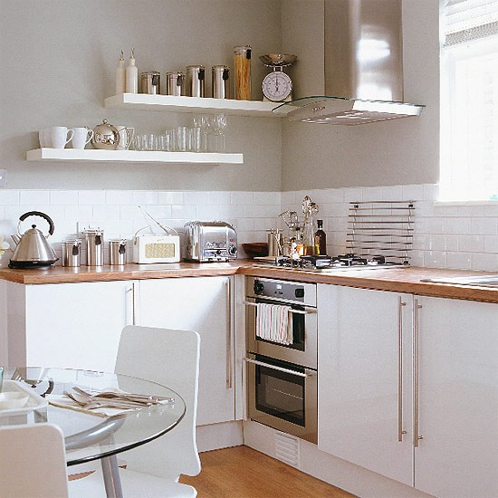 Kitchen Ideas Wooden Worktops: Kitchen/diner With White Units And Glass Table