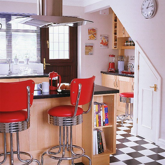 Wooden kitchen with fifties style stools for 50s diner style kitchen