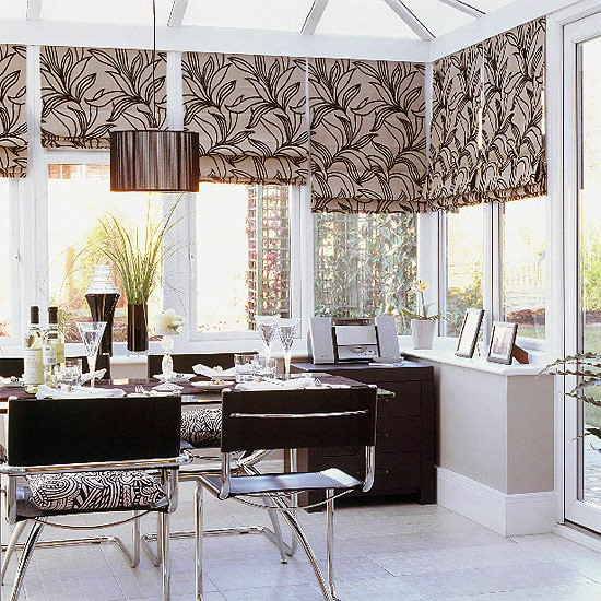Modern monochrome conservatory - Clever window curtain ideas matched with interior atmosphere and concept ...