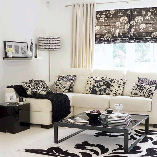 Two tone living room living room furniture housetohome for Black n white living room