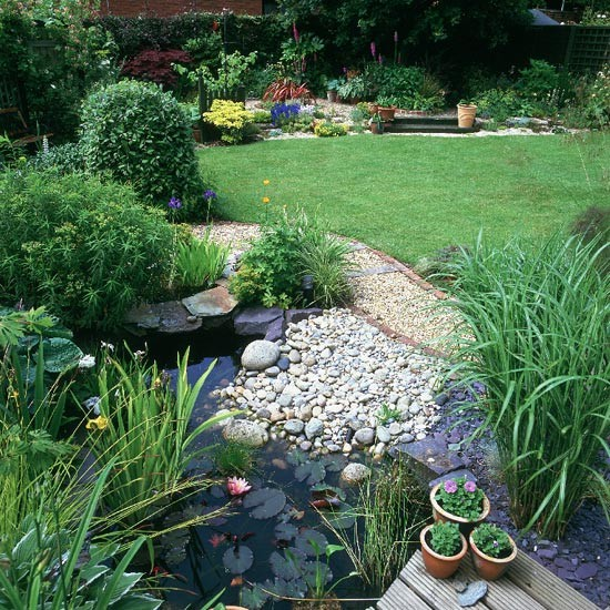 Home Garden Landscaping Ideas: Wildlife Pond Surrounded By Pebbles