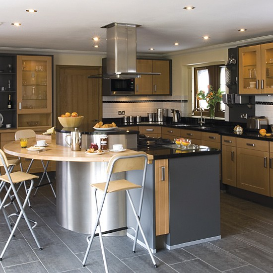 Wood And Stainless Steel Kitchen Design
