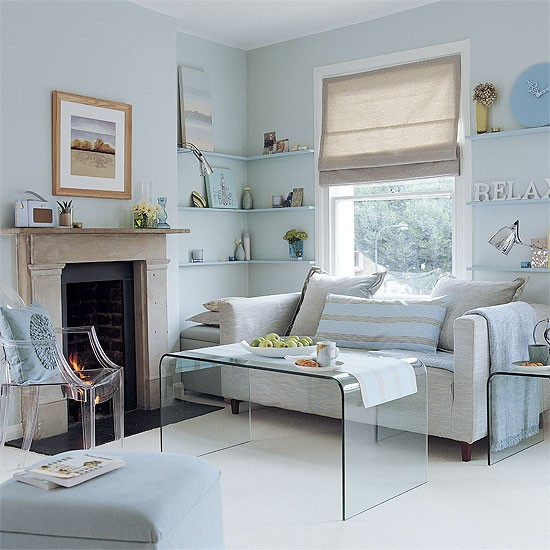 living room pale blue and grey scheme
