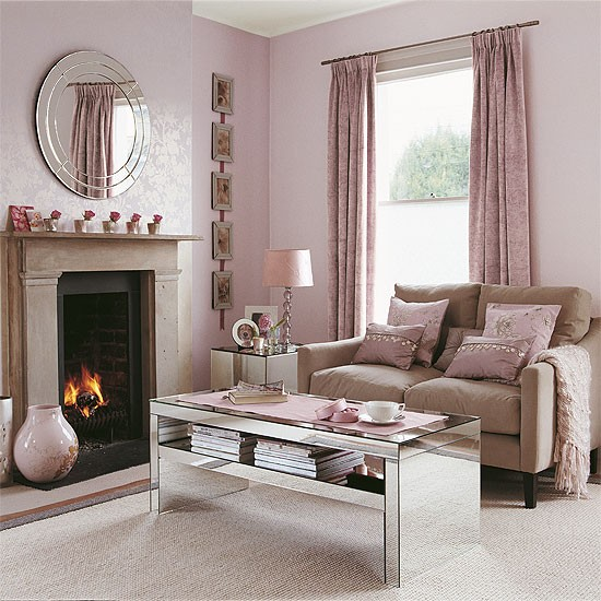 Shell pink living room with reflective accessories for Pink accessories for living room