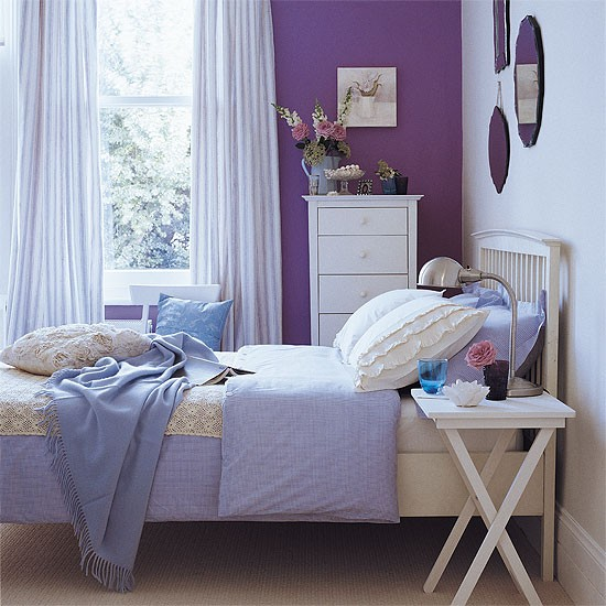 Bedroom with purple accent shades