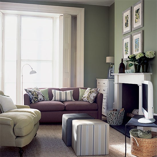 Multi functional living room olive green furnishings for Functional living room ideas