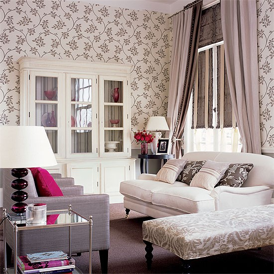 grey and cream living room with floral wallpaper