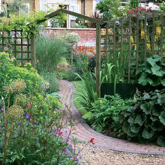Garden arch designs photograph brick path with wooden for Timber garden arch designs