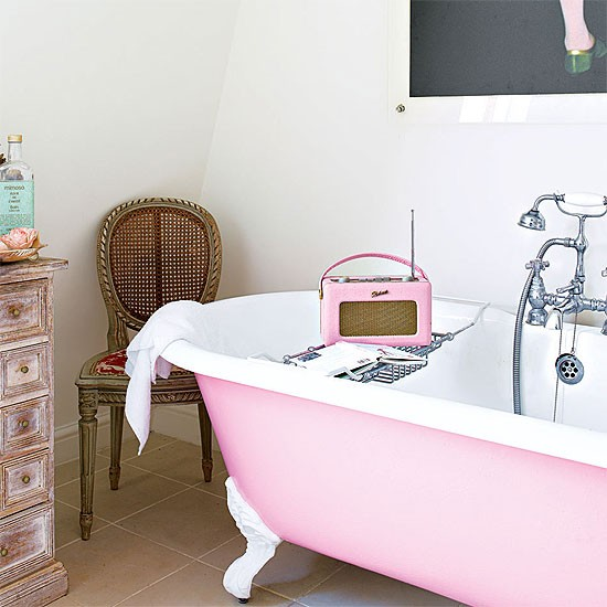 White bathroom with pink roll top bath gorgeous pinks for White and pink bathroom ideas