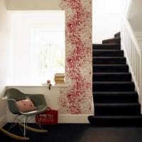 Striking modern hallway with feature wallpaper
