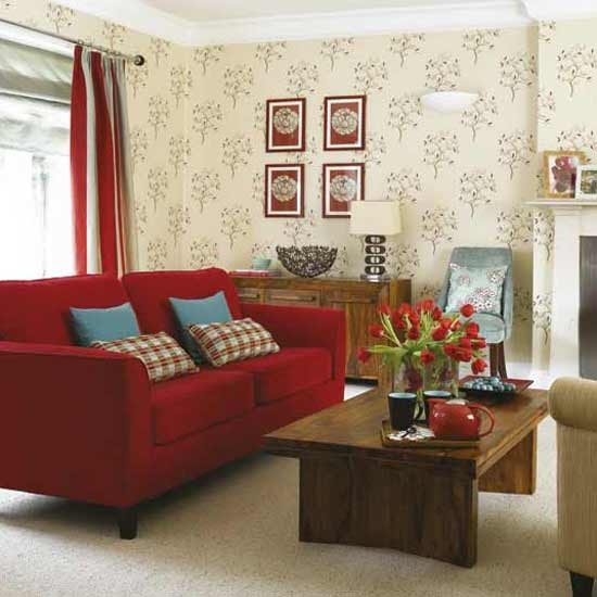 Modern living room wallpaper feature decorating ideas for Red wallpaper designs for living room