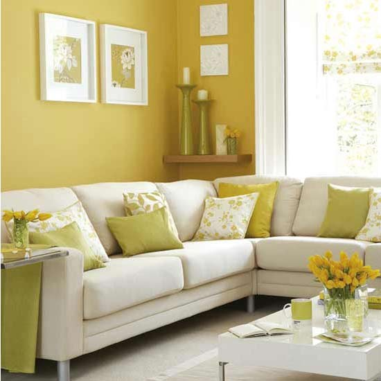 Sunny yellow living room decorating ideas housetohome for Home decor yellow walls