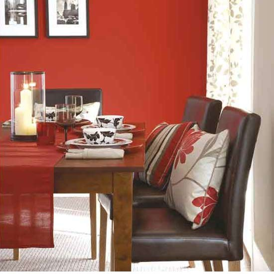 Bold red dining room dining room furniture decorating for Red dining room designs