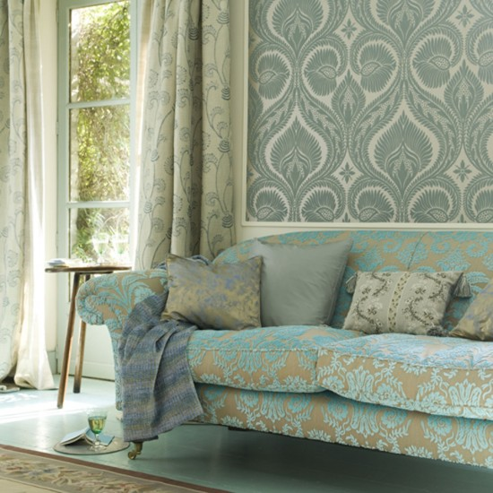 Living room with patterned wallpaper | Wallpaper feature | Decorating ideas | Image | Housetohome