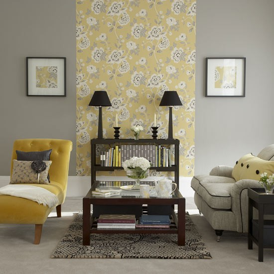 Yellow floral living room living room furniture for Front room feature wallpaper