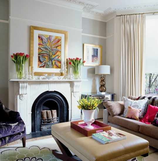 Colourful living room living room design decorating for Small victorian living room ideas