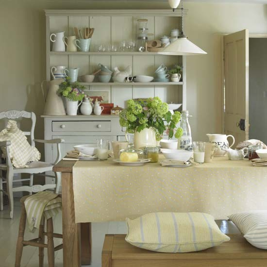 farmhouse style kitchen with yellow and green acccessories | Country kitchens | kitchens | decorating | Housetohome.co.uk