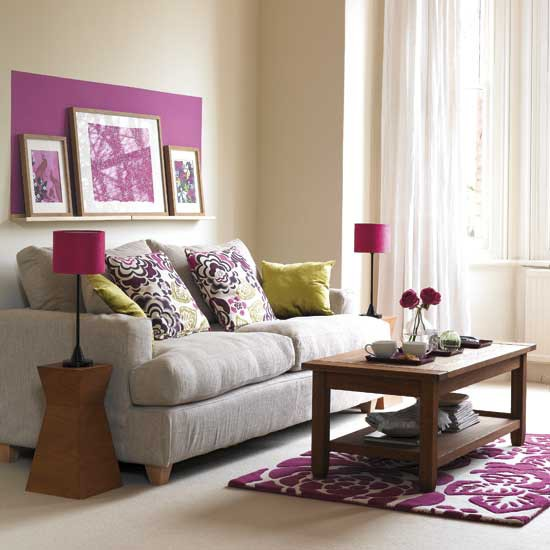 Living room with pruple accents living room furniture for Purple and green living room ideas