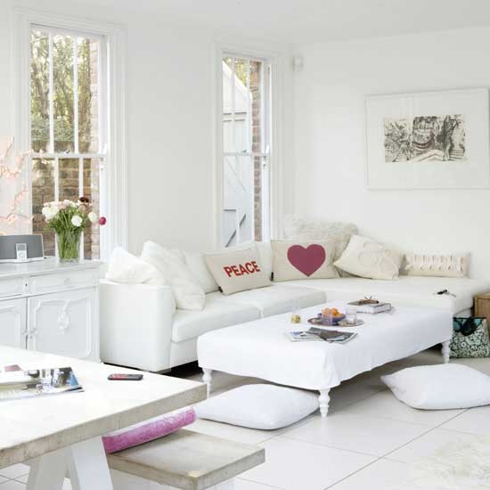 Sleek White Living Room Designs Decorating