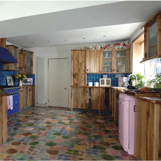 Kitchen with unusual flooring kitchen design for Kitchen flooring options uk