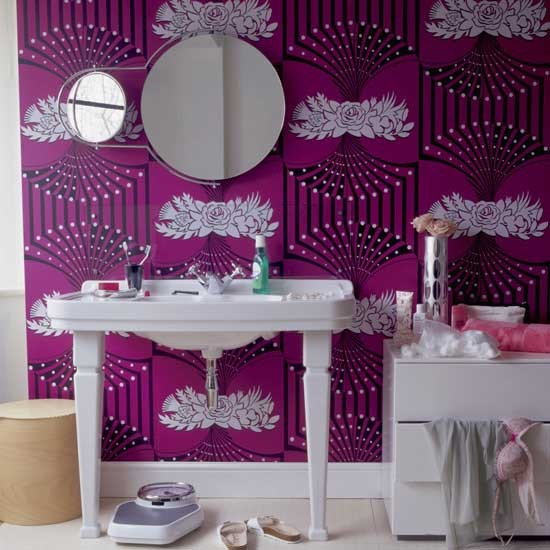 Wallpapers can be treated so they can be used in heavy traffic areas, and bathroom environments, too.