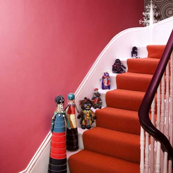 Bright Red Hallway Housetohomecouk
