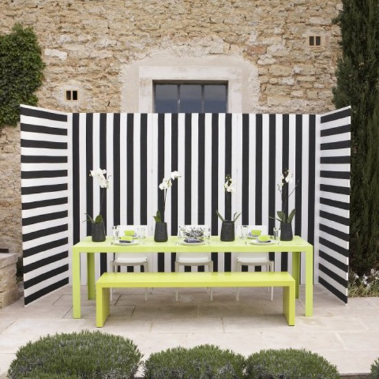 Black And White Stripes Patio Garden Ideas Image