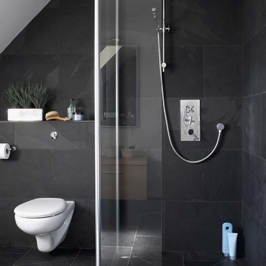 Monochrome ensuite shower room Ensuite tile ideas pictures