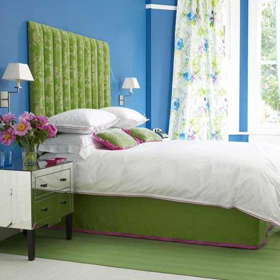 vibrant blue and green bedroom