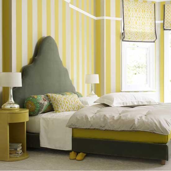H&G Yellow striped bedroom - housetohome