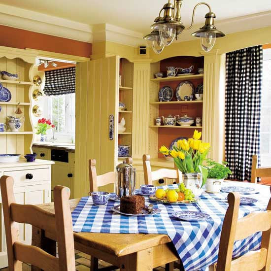 Country kitchen for Blue and yellow kitchen decorating ideas