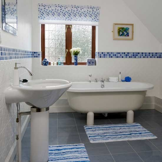 Cool 36 Blue And White Bathroom Tile Ideas And Pictures