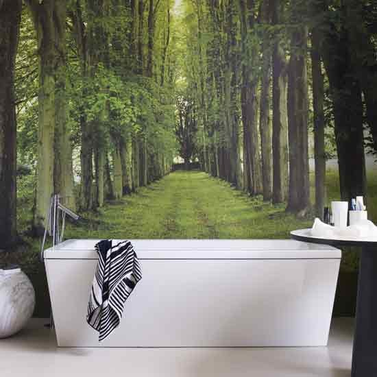Bathroom with forest wall for Forest bathroom ideas