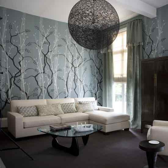 Oriental style living room for Grey wallpaper living room ideas
