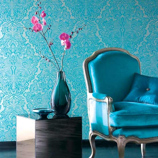 Kitchen bathroom bedroom living room and garden design for Turquoise wallpaper for bedroom