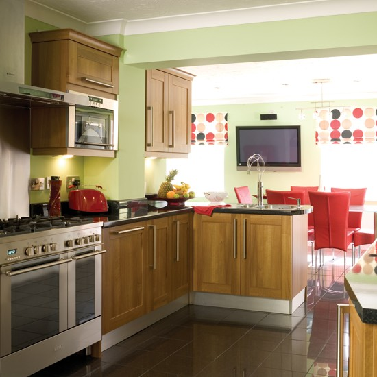 Red and green kitchen diner  Kitchen extensions  housetohome co uk