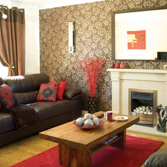 Red and taupe living room for Living room ideas with brown couch