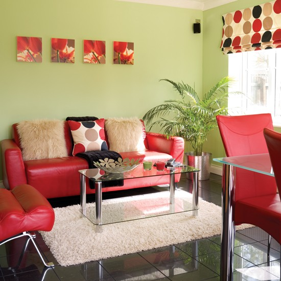 green red living room