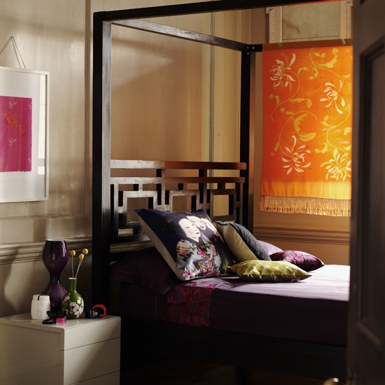 oriental bedroom four poster bed image