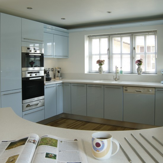 Blue Kitchen Cabinets Units: Curved Pale Blue Kitchen