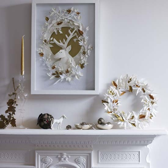 White and gold christmas decorations modern christmas for Home christmas decorations uk