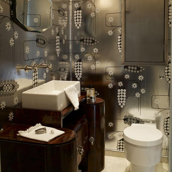 Glamorous Bathroom | Bathroom idea | Wallpaper | Image | Housetohome.co.uk
