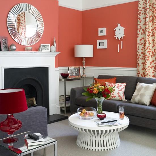 Bold coral living room IH - housetohome
