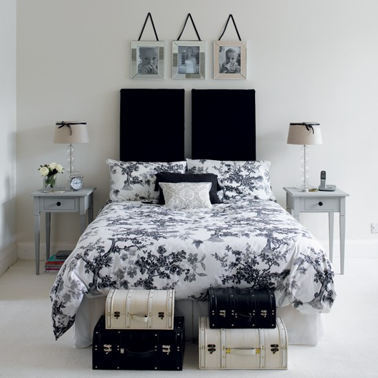Monochrome guest bedroom | Black and white bedroom ideas | Monochrome bedroom | PHOTO GALLERY | Housetohome.co.uk