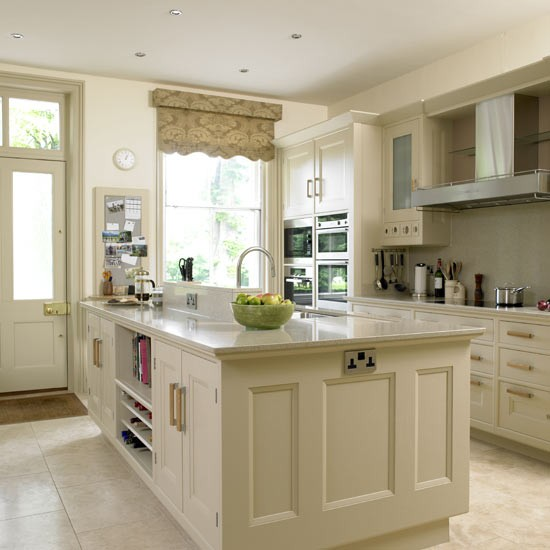 Beige Kitchen With Grey Blind Kitchens Kitchen Ideas