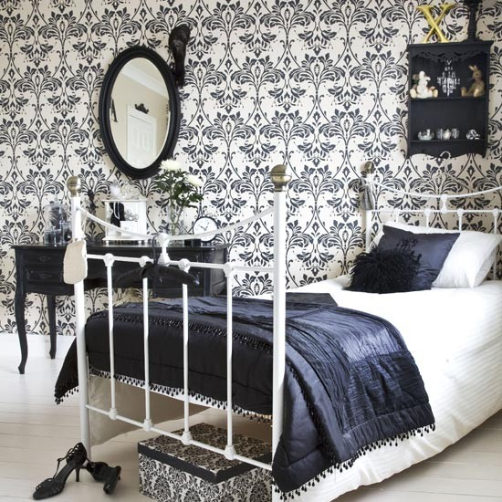 Bold damask bedroom for Black white damask wallpaper mural